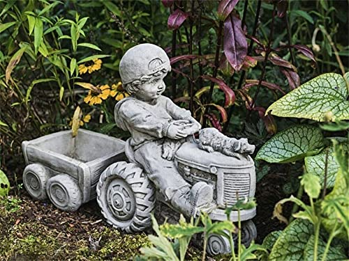 Garden Boy Statue, Boy and Dog on Tractor Sculptures Decoration, Resin Garden Figurines Concrete Fairy Garden Accessories for Outdoor Patio Yard Lawn Personalized Gift