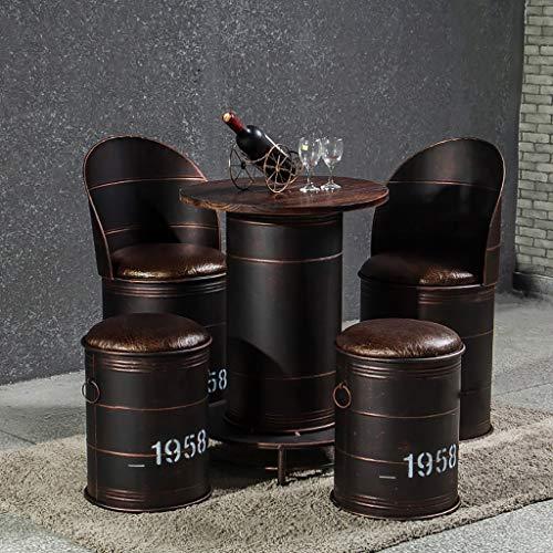 HQCC Barhocker, Barstuhl, Stehtische und Stühle, Schmiedeeisen Alte Bank Stuhl Retro-Industrie-Stil Milch Tee Dessert Shop Ölfass Kombination Home Hocker Bürostuhl Dekoration Hocker