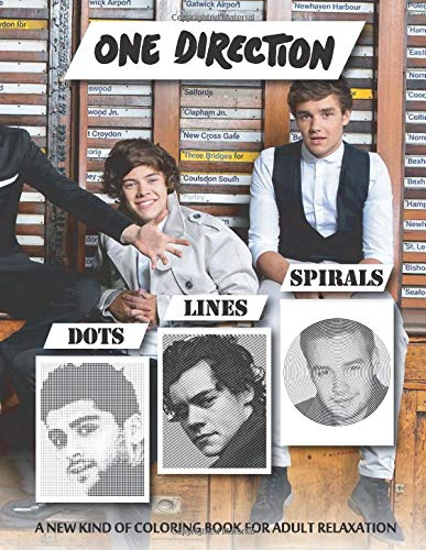 One Direction: Dots Lines Spirals - Great Kind of Coloring Book with One Color for Stress Relieving for teens and adults!