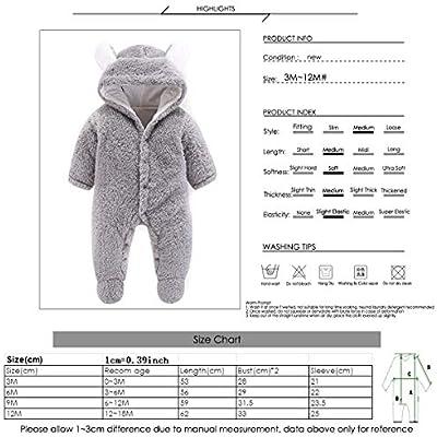 Haokaini Newborn Bear Warmer Snowsuit Cotton Fleece Hooded Romper Jumpsuit for Baby Girl Boy