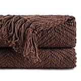 Battilo Boon Knitted Tweed Throw Couch Cover Blanket (Dark Brown, 50' x 60')