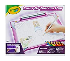 CRAYOLA LIGHT UP TRACING PAD FOR GIRLS & BOYS: Features 1 graphite pencil, 12 short colored pencils, 10 tracing sheets, 10 blank sheets, and 1 graphite pencil (3 AA batteries required. Sold separately) AT HOME CRAFTS & INDOOR ACTIVITIES: Keep spirits...