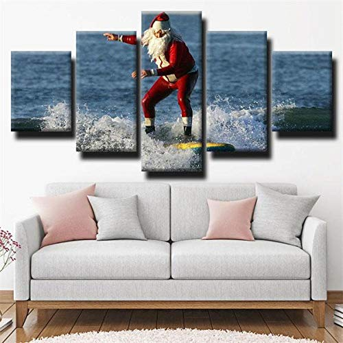 KOPASD Cuadro Moderno 5 Piezas ImpresióN Lienzo Surfing Extreme Santa Claus Sports Blue De Pared Arte Pintura para Hogar SalóN Oficina (Sin tamaño de Marco 150x80cm)