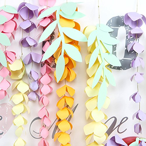 SUNBEAUTY Paper Craft Handmade Material - DIY Hanging Paper Wisteria Flower Garland - for Pastel Party Decorations Wedding Nursery Spring Birthday Party Supplies