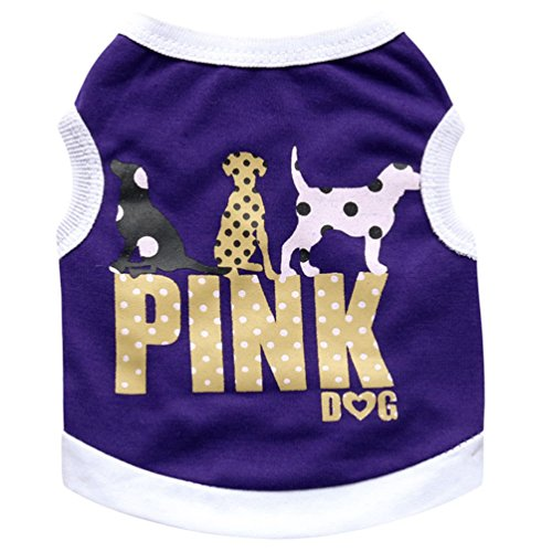 YiJee Freizeit Haustier Hund Weste Kleidung Atmungsaktiv Hündchen T-Shirt Sommer Lila XS