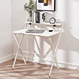 Panana Folding Computer Desk, Portable Wooden Study Writing Gaming Desk Foldable PC Laptop Workstation Meeting Table with Metal Frame Home Office (White)