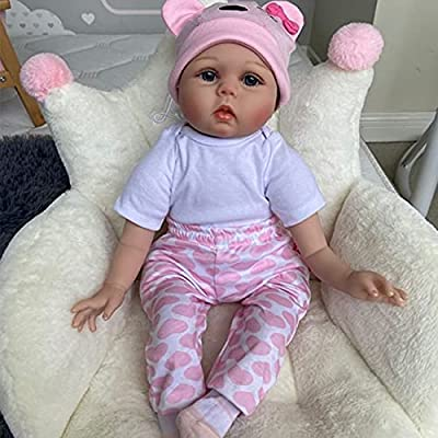 Funny House 22'' 55cm Reborn Baby Doll Realistic Real Looking Reborn Baby Dolls Lifelike Soft Silicone Vinyl Child Growth Partner Lovely Birthday Gift Xmas Present Free Magnet Fashion Dolls
