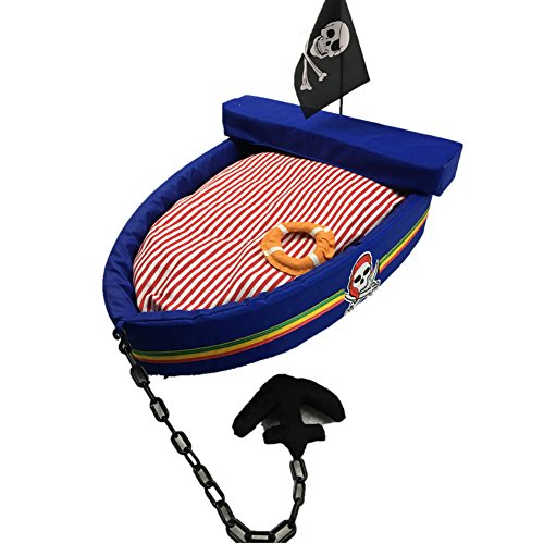 Petdog house Soft Cozy Luxury Pet Bed Boat Dog Cat House for Small-Medium Pets (Blue L)