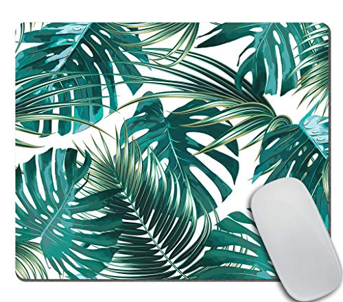 Amcove Mouse Pad Banana Leaf Print Office Gift Mouse Mat Hawaiian Mouse Pad Tropical Print Mousepad Mousemat Desk Accessories