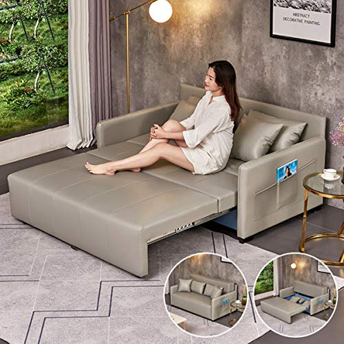 SND-A Leather Loveseat Sleeper Sofa Convertible Bed,Modern Folding Storage Sofa Couch Bed with Cushion Pillow,Pull Out Sectional Futon Couch Furniture Suitable for Apartment Living Room Office,1.95M