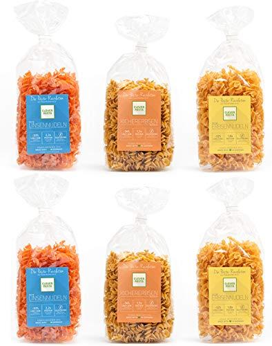Clever Pasta 6er Sparpack - rote Linsennudeln, Kichererbsennudeln, Erbsen Nudeln