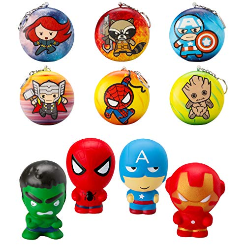 TICIAGA 10pcs Superhero Soft Squeeze Squishies Toys with Keychains, Cartoon Hero Slow Rising Stress Relief for Kids, Party Favors Games Prizes Carnivals School Supplies, Decorative Props