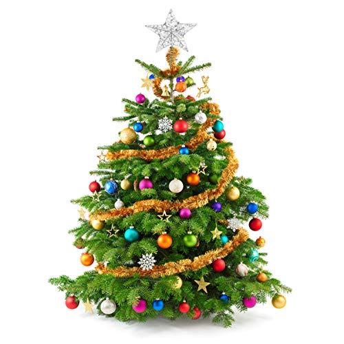 NUOBESTY - Estrella de árbol de Navidad brillante (1 unidad), 25 x 30 cm, color plateado intermitente