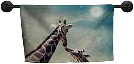 xixiBO Towel Specials W 28 x L 14(inch) Hand Towels and Dish Cloth,Giraffe,Two Animals Mother and Baby Friendship and Love Illustration Clouds and Moon,Teal Brown Cream