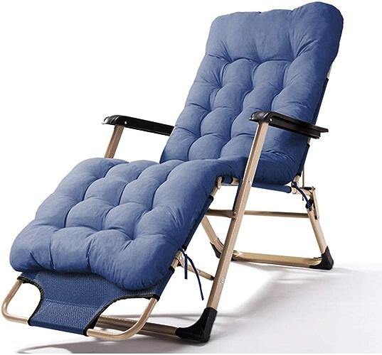 XIAOPING Lit de Camping Portable Simple Familial Femmes Enceintes Chaise de Balcon Chaise paresseuse (Couleur   bleu Plus Cotton Pad)