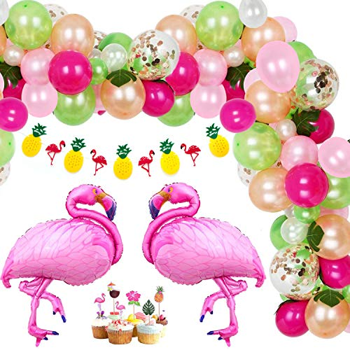 Osugin 145 Pcs Tropical Balloons Garland Kit, Luau Balloon Arch Garland with Palm Leaves Flamingo Balloons Hawaiian Banner Cake Topper for Tropical Theme Birthday Party BBQ Baby Shower Decorations