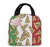 Pizza Slice Bandera de Italia Comida italiana.Jpg Bolsa de almuerzo para mujeres, niñas, niños, bolsa de picnic aislada, enfriador térmico, bolsa Bento, grande, para preparar comidas, linda bolsa