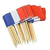 Generic 50x Holz Nationalflagge Flaggenpicker Papierfähnchen Picks mit Zahnstocher Kuchen Cocktail Deko - Frankreich , 3,5 cm x 2,5 cm
