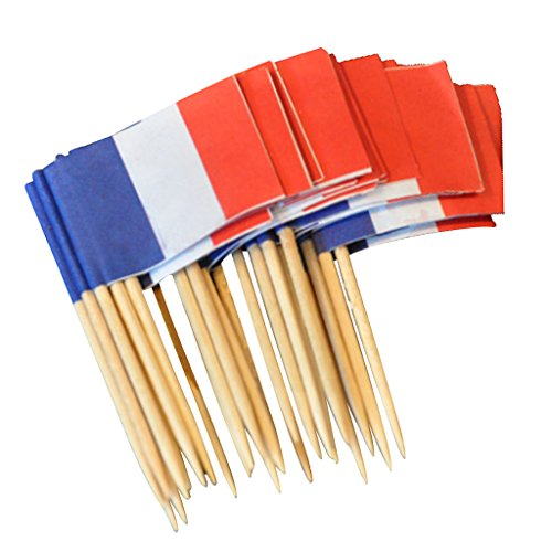 ugrato 50Pcs Deko Picks Deko Picker Flaggen Nationen Party Flaggenpicker Fahnen - Frankreich, 3,5 cm x 2,5 cm