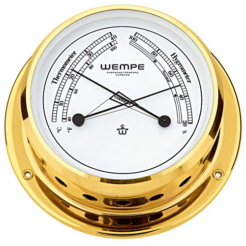 Comfortmeter Skiff Messing Ø 110mm - Thermometer Hygrometer
