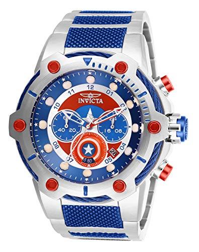 Invicta Relógio de quartzo masculino Marvel Captain America com pulseira de aço inoxidável, azul, 30 (modelo: 27965)