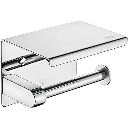 Ibergrif M34050 - Porte Papier Toilette, Support Papier Toilette Mural, 304 Acier Inoxydable Porte Rouleau Toilette, Installation avec Vis ou 3M Auto-adhésif, Argent