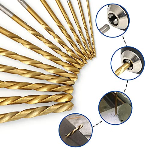 COMOWARE Left Hand Drill Bit Set, 13 Piece   M2 HSS with Titanium Nitride Coating   SAE (1/16