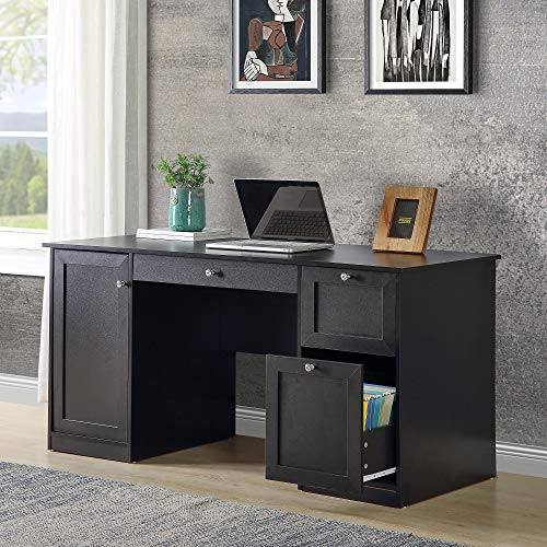Merax Home Office Computer 2 Drawers/Pullout Keyboard/Storage Cabinet Desk Table, 59' L x 23.6' W x 29.5' H, Black