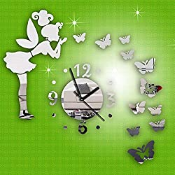 Allequal ISHOWTIENDA Modern Style Butterfly Fairy DIY Mirror Wall Clock Wall Sticker Home Decor Dropshipping & Wholesale New