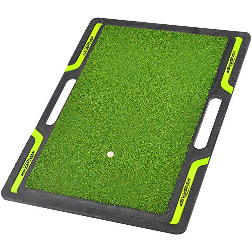 wujiang Golf Hitting Mats - Artificial Turf Mat for Indoor/Outdoor Practice - Choose Your Size - Includes 1 Rubber Tees (Green, Size:19.7