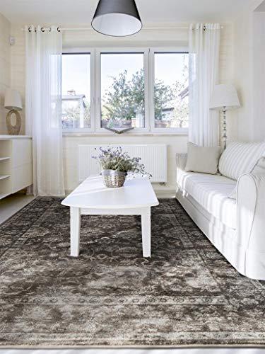 benuta Alfombra Vintage en Aspecto Desgastado, Terciopelo marrón, 140 x 200 cm, Moderna Alfombra para Dormitorio y salón