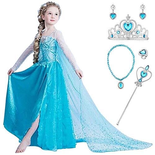 YOSICIL Mädchen Prinzessin ELSA Kleid Mädchen Eiskönigin Kostüm Kleid Frozen Kostüm Prinzessinen Cosplay Weihnachten Party Kleid Verkleidung Karneval Fasching Halloween Fest Blau Gr.100-150
