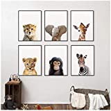 AdoDecor Löwe Zebra Elefant Giraffe Tierbabys Leinwand