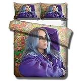 Billie Eilish cantante juego de ropa de cama con funda nórdica para adultos y jóvenes, cama individual 3D cama doble ropa de cama suave, cómoda y duradera textiles para el hogar-D_135x200cm (2pcs)