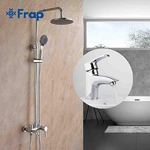 RSZHHL GriferíaNuevacombinación de grifería Grifos de lavabo de latón con un orificio para baño con juego de grifería de ducha tipo lluvia para baño F2416 F1070