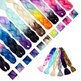 """[3packs] 24"""" Ombre Jumbo Braiding Hair Extensions Multiple Tone Colorful Jumbo Box Braid Hair High Temperature Synthetic Twist Braiding Crochet Hair With Pure Color Or 2 Tone(24',dark black)"""