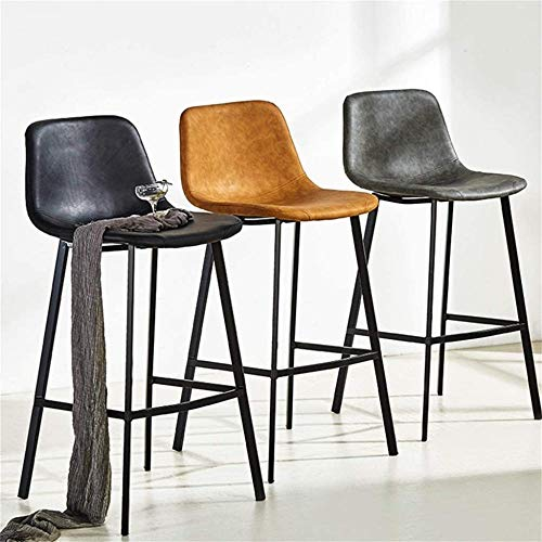 Industrial Bar Stool Chair with Footrest Dining Chairs Barstools for Kitchen | Pub | Café High Stools Wood Seat Max. Load 200kg Black Metal Legs