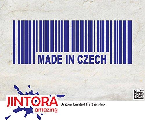 JINTORA Sticker voor Auto/Autostickers Fabriqué en tchèque Barcode Prag - 190x70mm - JDM/Die cut - Bus - Raam - Achterruit - Laptop - LKW - Tuning blauw