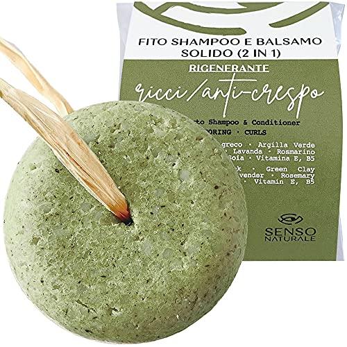 Senso Naturale Shampoo Solido per capelli RICCI - RIGENERANTE Ecologico e Vegano - capelli mossi, doppie punte - a base di Spirulina - 100% naturale e senza plastica - ph 4.5 - 5.0