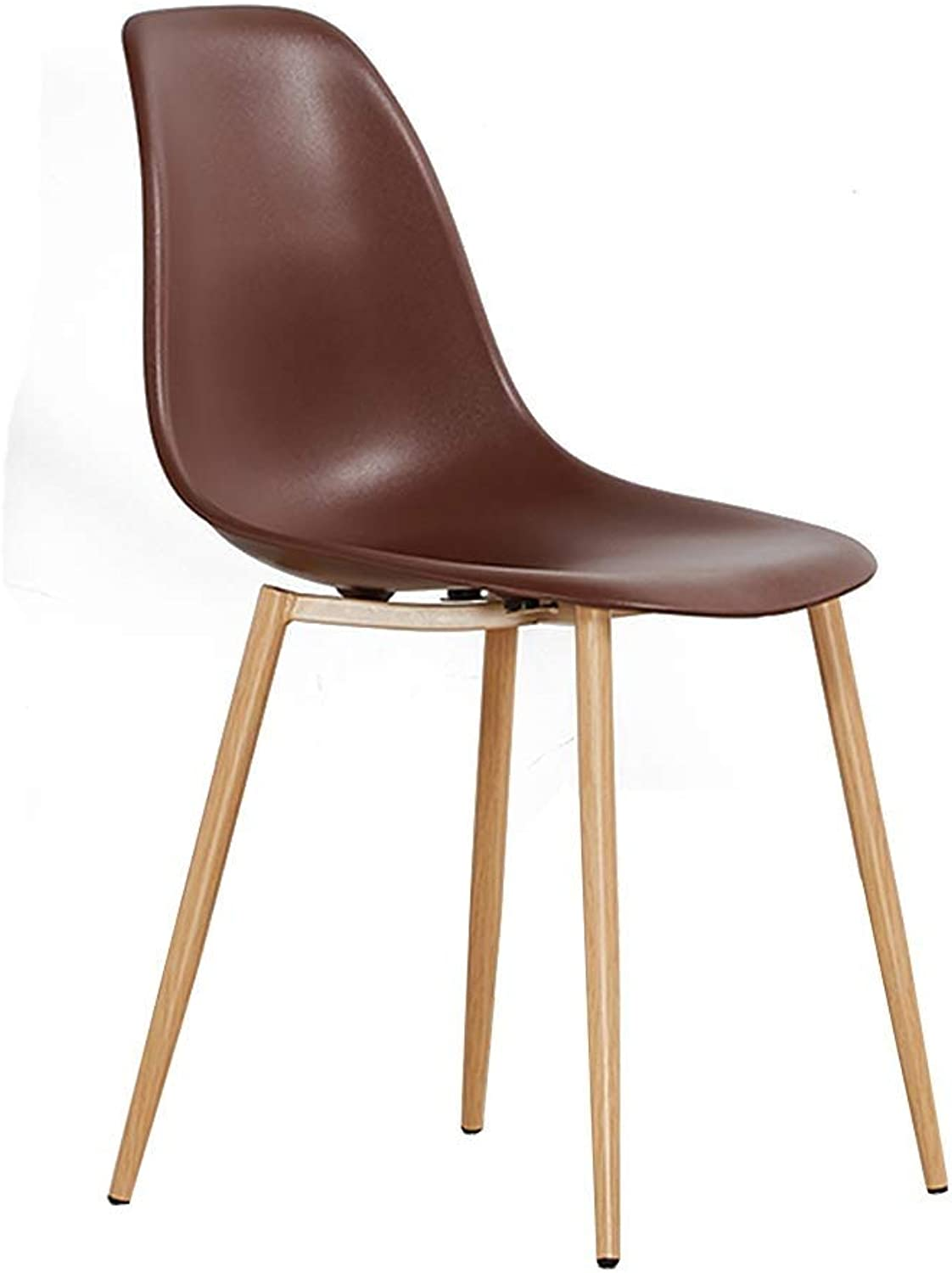 Creative Pp Material Backrest Chair, Sturdy qnd Durable Design Wooden Bracket Ergonomic Design Home Living Room Dining Chair Coffee Shop Tea Shop Leisure Chair Economy (color   Brown)