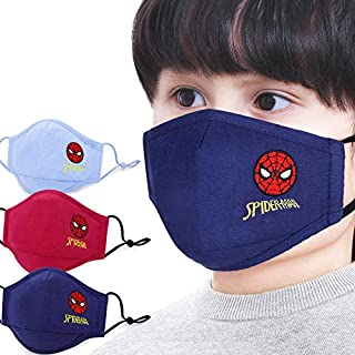 The Hero Kid Spiderman Boys Mask Dust proof 100% special filter washable & comfortable, cotton fabric embroidery,3-8 Years...