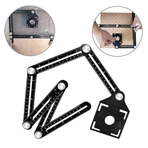 AMENVTOOL Upgrade Universal Ruler - Full Metal Multi Angle Measuring Tool-Upgraded Aluminum Alloy Multi Functional Ruler-Ultimate Template Tool (6-Sided Black)