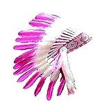 KARMABCN N23 Chapeau Indien 5-8 Ans Garçon/Fille: touffe avec Vraie Plume pour 21 Pouces...