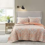 Comfort Spaces Reversible Quilt Set-Double Sided Vermicelli Stitching Design All Season, Lightweight, Coverlet Bedspread Bedding, Matching Shams, Full/Queen(90'x90'), Coral 3 Piece