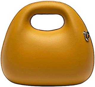 Leather Women Cross Body Bag Retro Chains Yellow