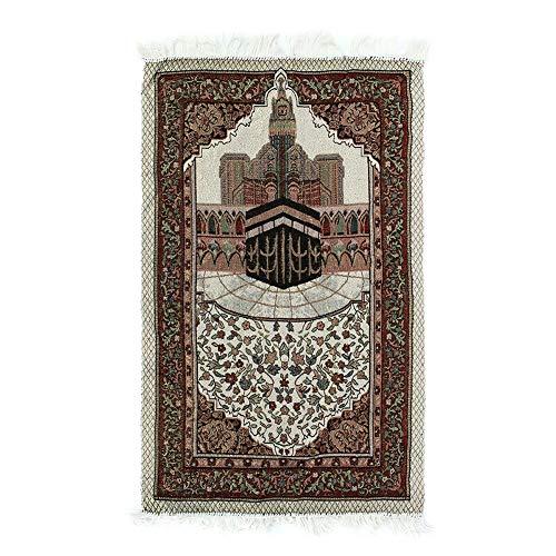 Alfombra de rezo, Alfombra de bordado musulmán islámico de 110x65 cm con borla, Tapiz portátil, Decoración para el hogar, Alfombra duradera