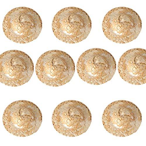 Muñeca Sombreros de paja Adornos,10 Piezas Muñeca Sombrero de Paja Mini Sombrero Artesanal Redonda Gorra de Muñeca Gorro de Muñeca Hecha a Mano para Manualidades Diy Accesorios de Joyería Artesanal
