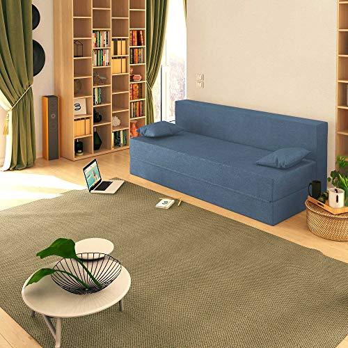 Baldiflex Sofá Cama de 3Plazas Espuma viscoelastica, Modelo TreTris. Confortable Funda extraíble y Lavable. Color Jeans.