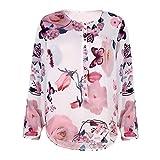 IMJONO Damen Chiffon Bluse V-Ausschnitt Henley Shirt Casual Langarm Oberteile (EU-38/CN-L,Weiß)