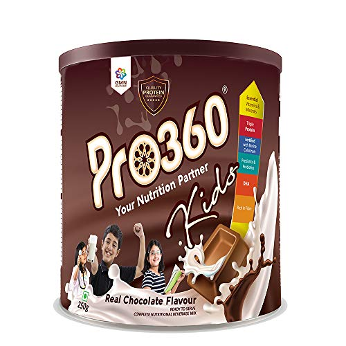 Pro360 Kids Nutritional Protein Drink Supplement Powder for Growing Children (Age 3 - 12 Years) Instant Beverage Mix 250G (Chocolate)